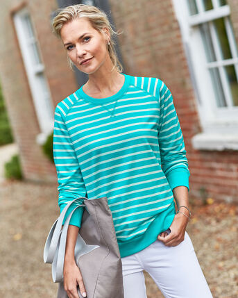 Crew Neck Stripe Sweatshirt