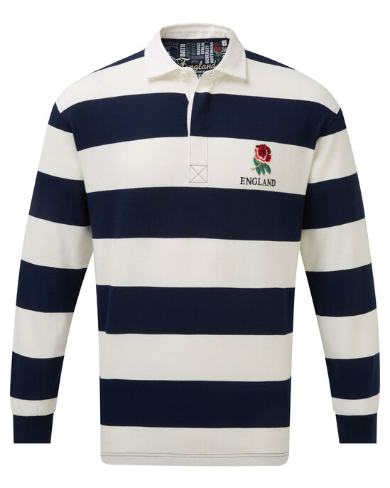 6b805be8f38 Long Sleeve England Stripe Rugby Shirt at Cotton Traders