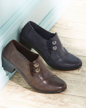 Heeled Button Trouser Shoes