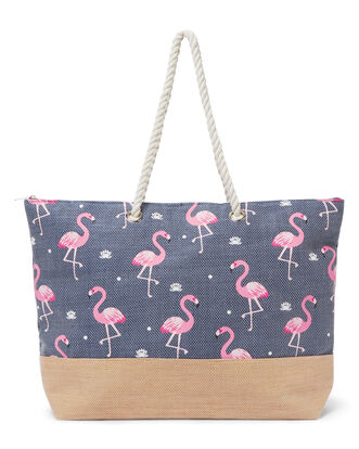 Flamingo Print Beach Bag