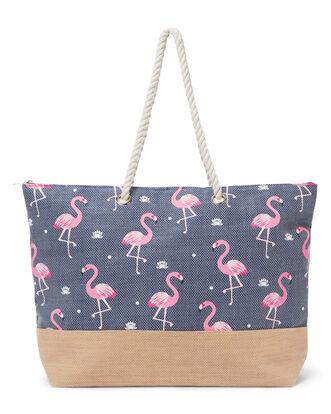 Flamingo Print Beach Bag