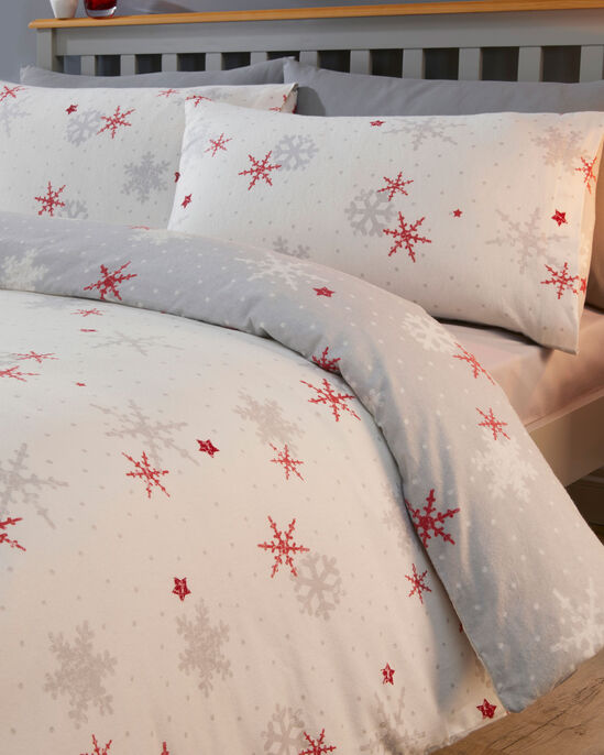 Red Snowflake Brushed Cotton Duvet Set