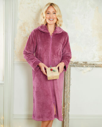 Fluffy Zip Front Dressing Gown