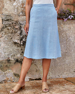 Linen-blend Pull-on Skirt