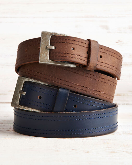 Twin Stitch Leather Belt