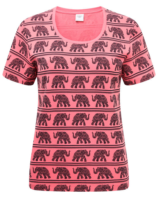 af3a182fade6df Wrinkle Free Elephant Print T-shirt at Cotton Traders