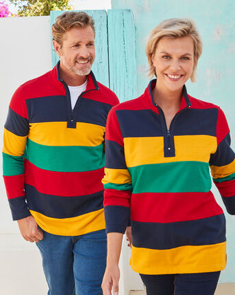 Heavy Pique Stripe Half Zip Top