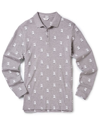 Grey Marl Long Sleeve Jersey Polo Shirt