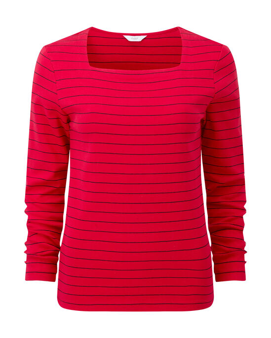 Wrinkle Free Square Neck Stripe Top