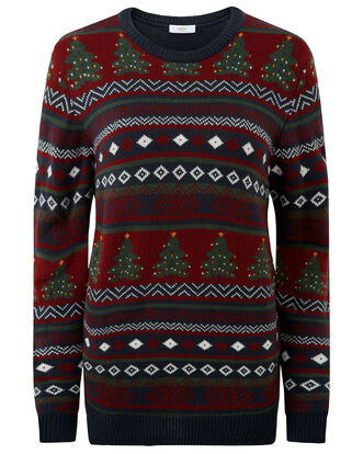 Navy Multi Crew Neck Christmas Jumper
