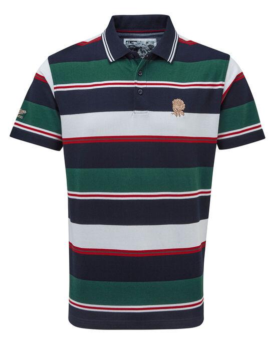 England Rose Short Sleeve Stripe Polo Shirt