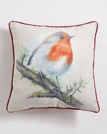 Watercolour Robin Cushion