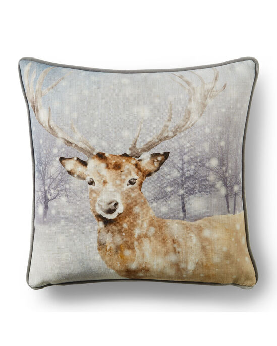 Snowy Stag Country Cushion