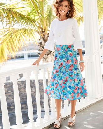 Floral Burn Out Skirt