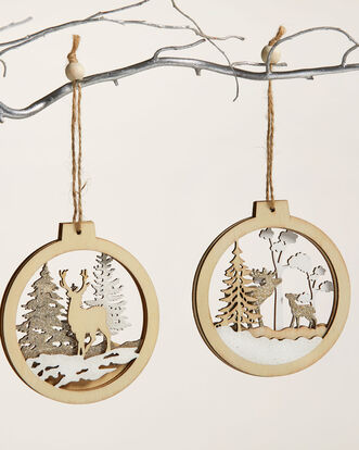 Pack of 2 Christmas Scene Bauble Decorations