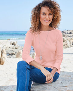 Wrinkle Free 3/4 Sleeve Boat Neck Top