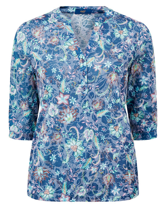 Elasticated Floral Burn Out Top
