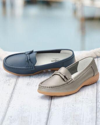 Leather Flexisole Twist Detail Loafers