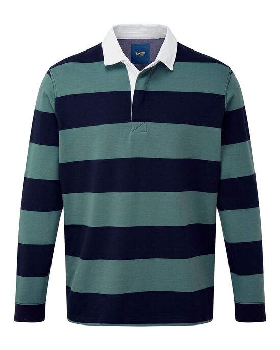 Washed Green Long Sleeve Stripe Rugby Shirt