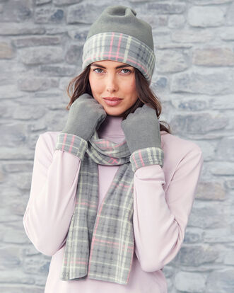 Fleece Check Hat, Glove and Scarf Set