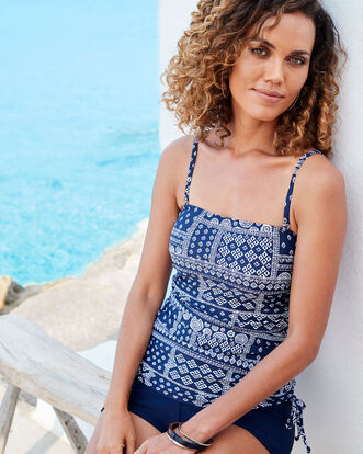 Patchwork Print Long Printed Tankini Top
