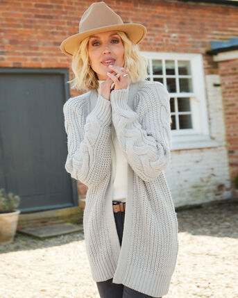 Grey Skies Cable Knitted Cardigan