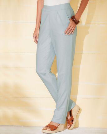 Flat Front Linen Blend Trousers