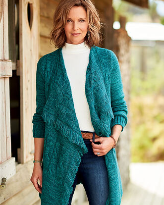Fringed Cable Cardigan