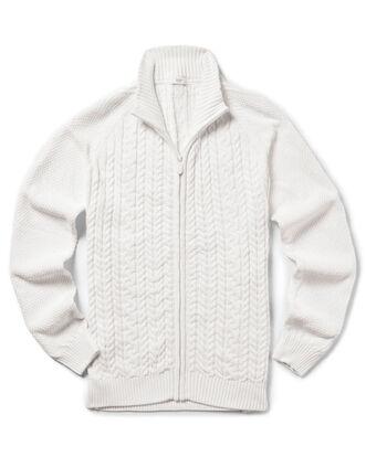 Cotton Cable Zip-through Cardigan