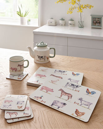 8 Piece Country Farm Placemats and Coasters Set