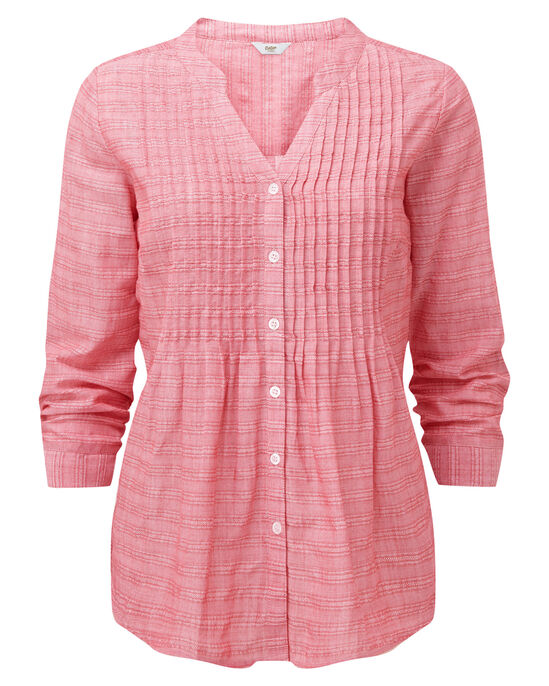 Textured Stripe Pintuck Shirt