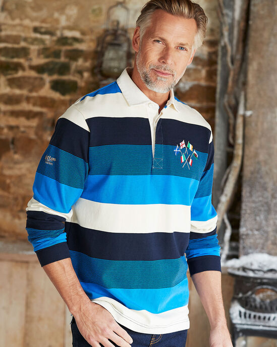 Six Nations Long Sleeve Stripe Rugby Shirt