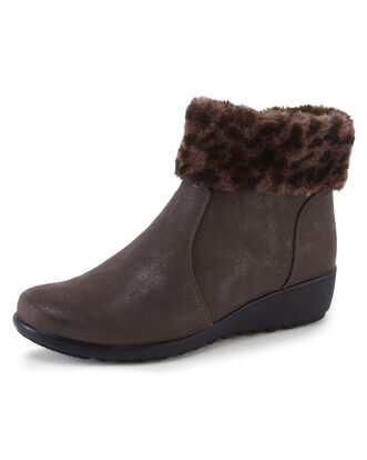 Flexisole Fur Collar Ankle Boots