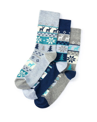 3pk Comfort Top Fair-isle Socks