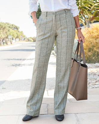 Side Elasticated Waist Check Trousers