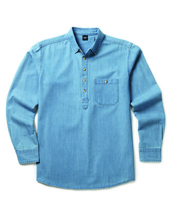 Long Sleeve Half Placket Denim Shirt