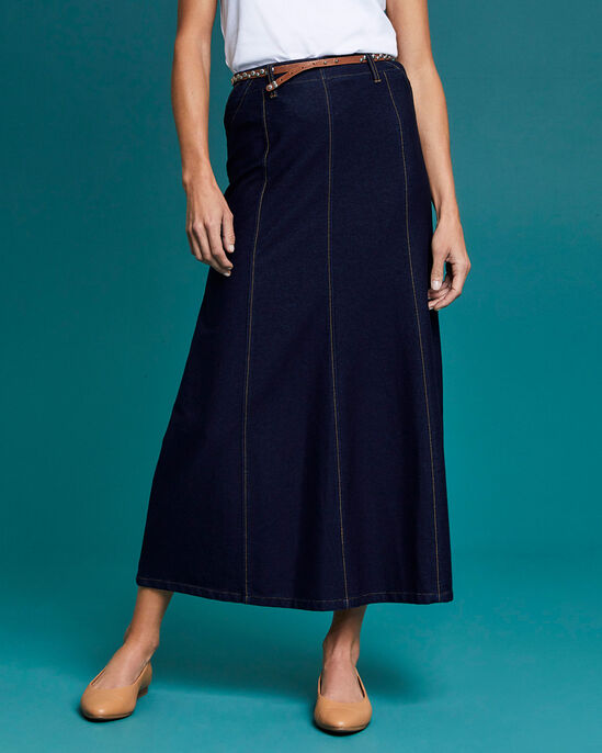 Pull-on Jersey Denim Skirt