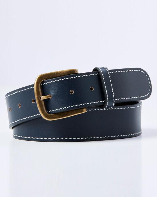 Stitch Detail Leather Jeans Belt