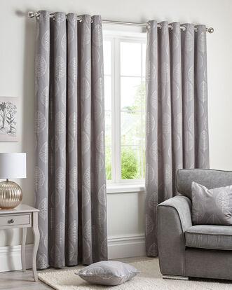 "Leaf Jacquard Eyelet Curtains 90X90"""