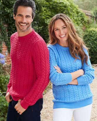 Cotton Cable Knit Crew Neck Jumper