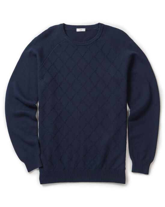 Cotton Diamond Crew Neck Jumper