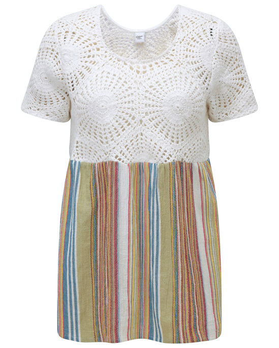 Crochet Trim Striped Top