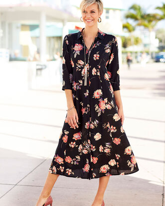 Floral Button-through Long Printed Dress