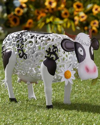 Solar Daisy Cow Ornament