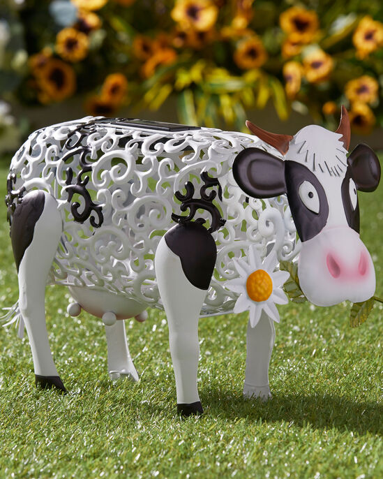 Solar Daisy Cow Ornament