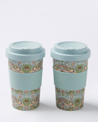 William Morris Strawberry Theif Pack of 2 Travel Mugs