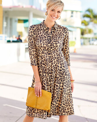 Animal Print Button-through Printed Dress