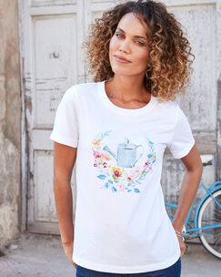 Short Sleeve Embroidered Novelty T-shirt