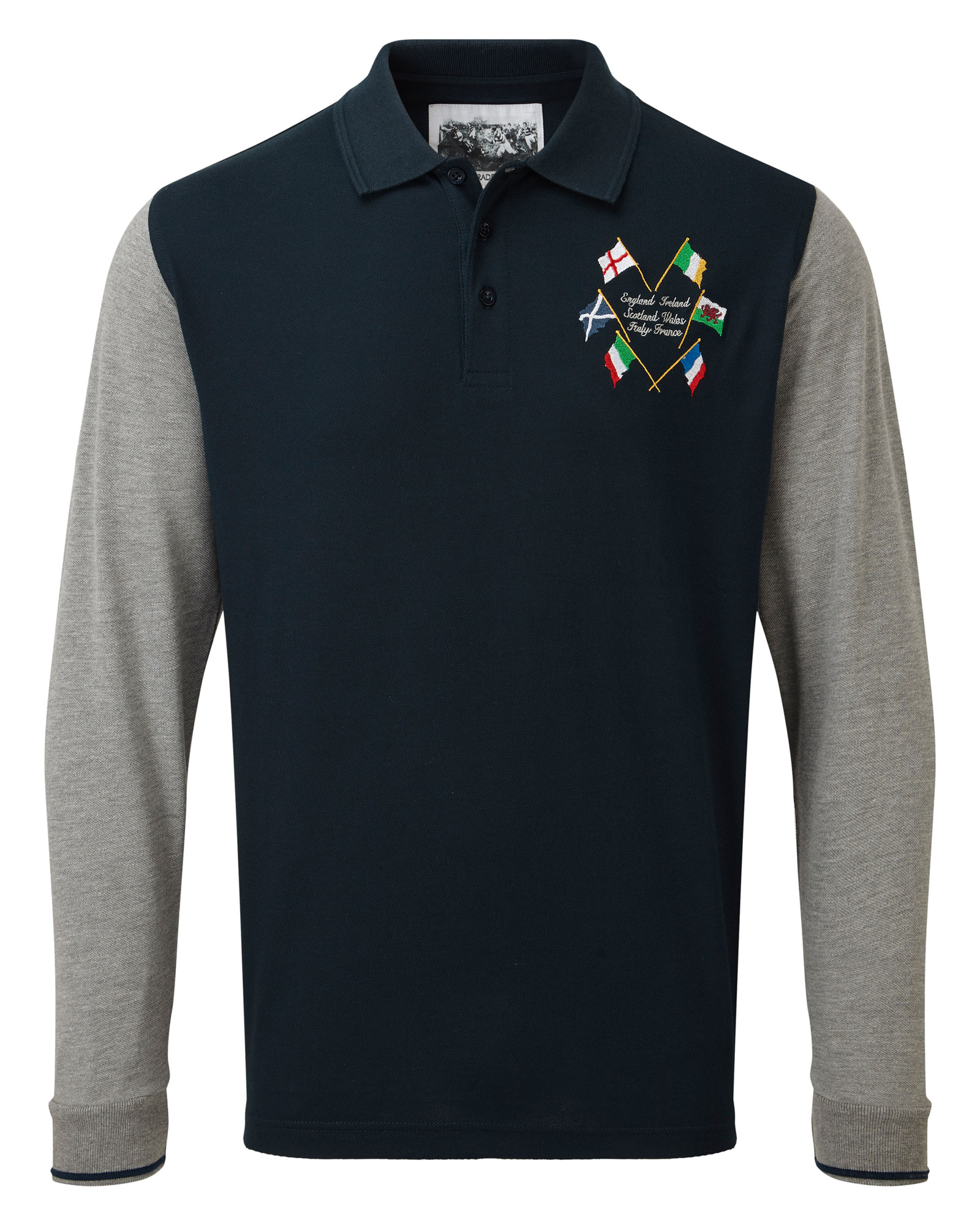 29c722099fc 6 Nations Long Sleeve Embroidered Polo Shirt at Cotton Traders
