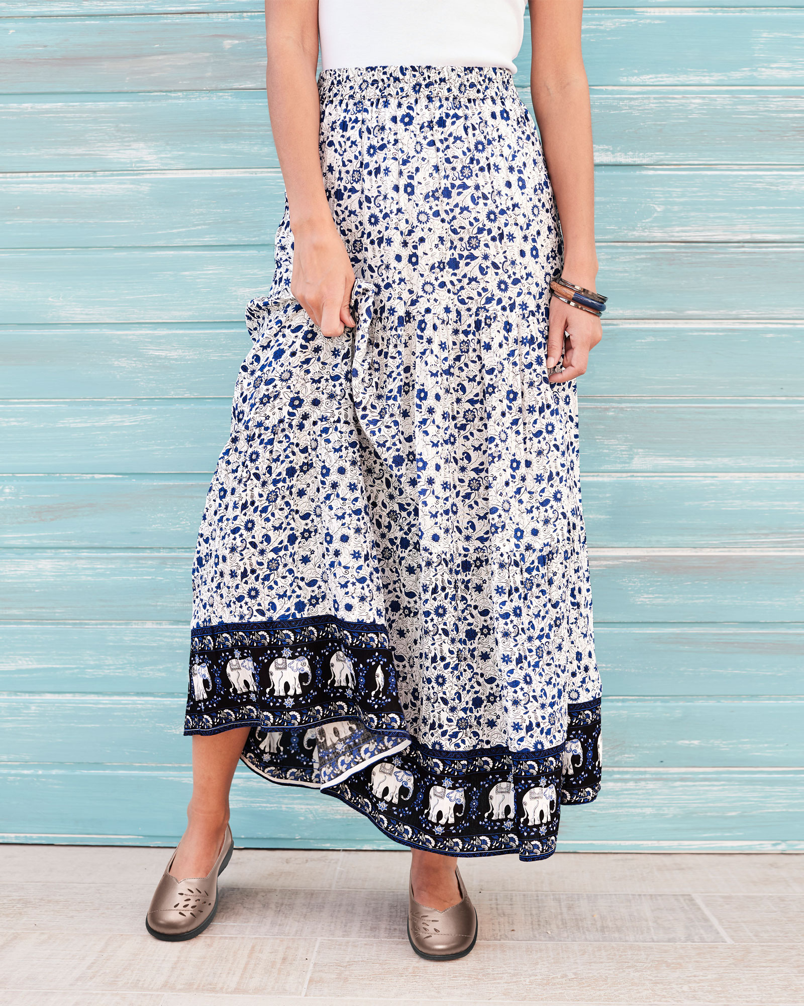270bfb599 Elephant Tiered Maxi Skirt at Cotton Traders